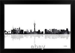 Las Vegas Nevada Skyline BW I Black Framed Wall Art Print, Las Vegas Home Decor
