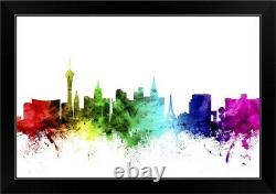 Las Vegas Nevada Skyline, Rainbow Black Framed Wall Art Print, Las Vegas Home