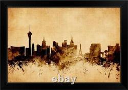 Las Vegas Nevada Skyline, Vintage Style Black Framed Wall Art Print, Las Vegas