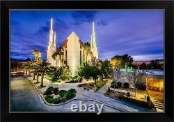 Las Vegas Nevada Temple, Lights at Black Framed Wall Art Print, Las Vegas Home