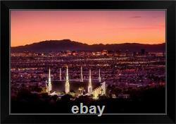 Las Vegas Nevada Temple, Sunset and Black Framed Wall Art Print, Las Vegas Home