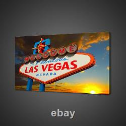 Las Vegas Nevada Welcome Sign Sunset Canvas Print Wall Art Picture Photo