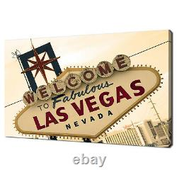 Las Vegas Sign Front Sepia Modern Home Decor Canvas Print Wall Art Picture