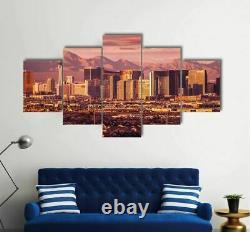 Las Vegas Skyline At Sunset 5 Piece Canvas Wall Art Poster Print Home Decor