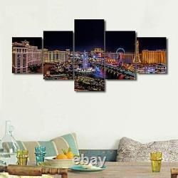 Las Vegas Strip Night Scene 5 Piece Canvas Print Wall Art Home Decor Cuadros