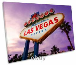 Las Vegas Welcome Sign Purple Print SINGLE CANVAS WALL ART Picture