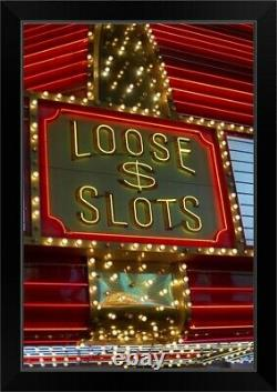 Loose slots sign on casino, Las Vegas, Black Framed Wall Art Print, Las Vegas