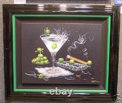 Michael Godard-OLIVE PARTY 2-Godfather-Las Vegas-Olive-Cigar-Fun-Art FRAMED