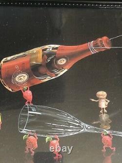 Michael Godard PREPARE PERFECT POUR-Champagne-Las Vegas-Wine-Bar-FRAMED-Art