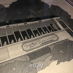 New Orleans St. Charles Avenue Sketch Streetcar Las Vegas Framed Signed 1986