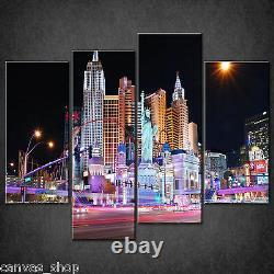Night In Las Vegas Skyline Cascade Canvas Print Wall Art Ready To Hang