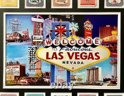 Old Las Vegas Hotels Authentic 18 Playing Cards Collage Framed #D/50 Vintage