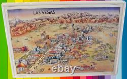 Old Picture card map numbered with Vintage frame 1993 United states Las Vegas