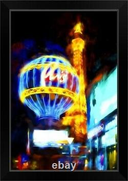Paris Je t'aime, Oil Painting Series Black Framed Wall Art Print, Las Vegas Home