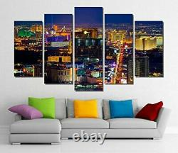 Picture Sensations Framed 5-Panel Canvas Art Print Las Vegas Casino City Sky