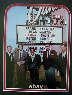 SANDS CASINO Las Vegas framed artwork RAT PACK autograph photo card chip Sinatra