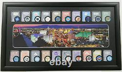 Sale Las Vegas Framed Art 20 Casino Poker Chips & 20 Playing Cards Display