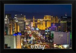 Skyine at twilight, Las Vegas, Nevada Black Framed Wall Art Print, Las Vegas