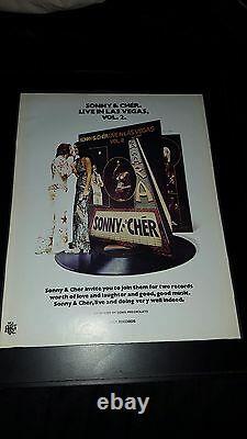 Sonny & Cher Live In Las Vegas Vol. 2 Rare Original Promo Poster Ad Framed