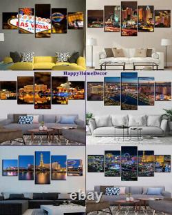 Sparkle Night Las Vegas Painting Nevada Wall Art City Home Decor 5p Canvas Print