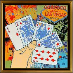 Steve Kaufman Original Las Vegas Painting Oil On Canvas Signed Poker Card Art