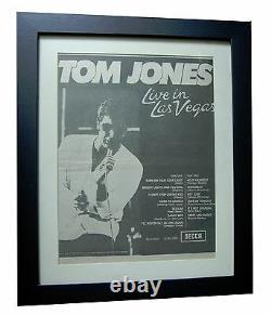 TOM JONES+Live In Las Vegas+POSTER+AD+RARE ORIGINAL 1969+FRAMED+FAST GLOBAL SHIP