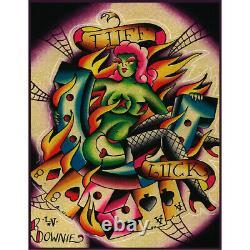 Tuff Luck by Ryan Downie Las Vegas Poker Colorful Tattoo Canvas Wall Art Print