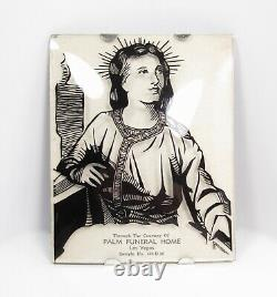 Vintage Advertising Palm Funeral Home Las Vegas Convex Glass Jesus Wall Frame