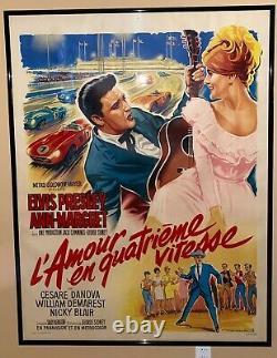 Viva Las Vegas Elvis Presley ORIGINAL 1964 French Movie Poster FRAMED+LINEN