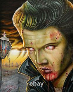 Viva Las Vegas by Randy Drako Elvis Zombie Monster Tattoo Canvas Fine Art Print