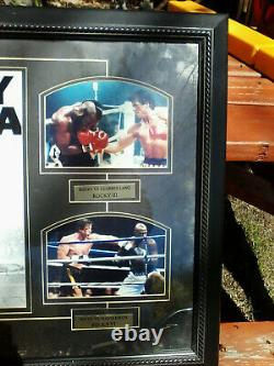 Vtg ROCKY BALBOA VS. Framed autographed Las Vegas Fight Collage 34 x 23 Stallone