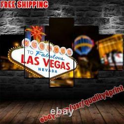 Welcome To Las Vegas City Navada Canvas Painting Photo Print Wall Art Home Decor