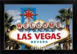 Welcome to Fabulous Las Vegas Nevada Black Framed Wall Art Print, Las Vegas Home