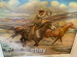 William Hall Listed Las Vegas Nevada Artist Western Cowboy Horse Oil Painting